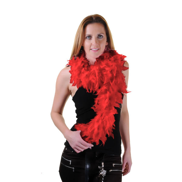 Red Feather Boa Burlesque Dance Fancy Dress Hen Night Accessory Showgirl 150cm