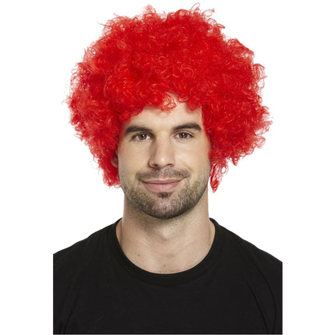 Adults Red Afro Wig Curly Fancy Dress Funky Disco Clown Style 70s Hair
