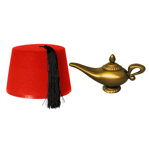 Red Fez Hat Cap And Genie Magic Wish Lamp Costume Set Kit
