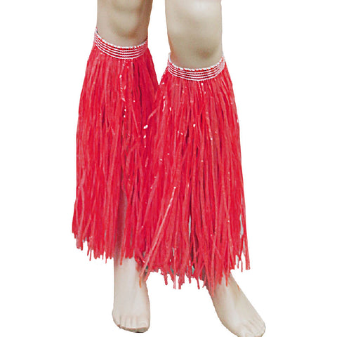 Red Hula Straw Leg Cuffs Hawaiian Beach Party Accessory