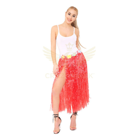 Adult Red Hula Skirt with Flowers Hawaiian Beach Party Dress