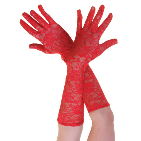 Women's Elegant Long Lace Floral Red Gloves Opera Evening Fancy Dress Wedding Party
