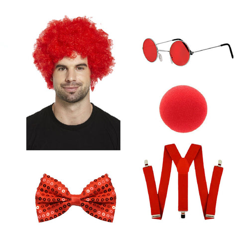 Red Nose Day 5 Pcs Costume Wig Glasses Nose Tie Braces Comic Relief Fancy Dress