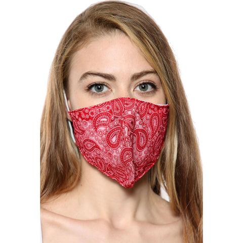 Red Paisley Print Face Mask With Filter Pocket
