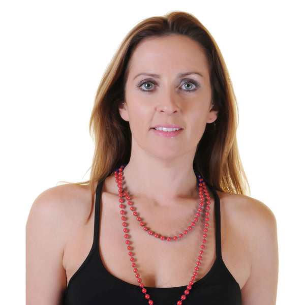 Red Plastic Bead Necklace Womens Ladies 80's Parties Fancy Dress Costume Accessory