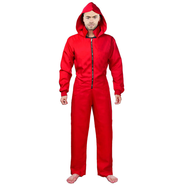 Adult Robber Red Bank Cleaner Money Thief Coverall Costume Halloween Jumpsuit