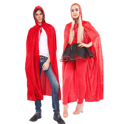 Unisex Red Satin Hooded Cape Fancy Dress