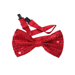 Adult Satin Red Sequin Bow Tie