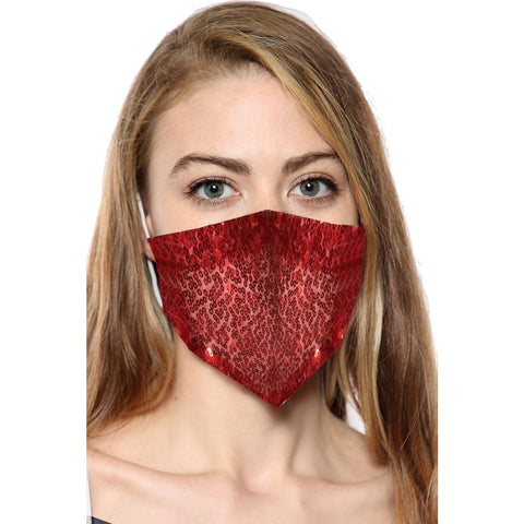 Red Sequin Face Mask With Filter Pocket
