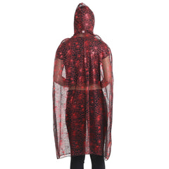 Womens Red Hooded Spider Cape Halloween Witch Vampire Fancy Dress Costume