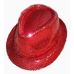 Red Sequin Gangster Hat Fedora Trilby Cap Hats Dance Party
