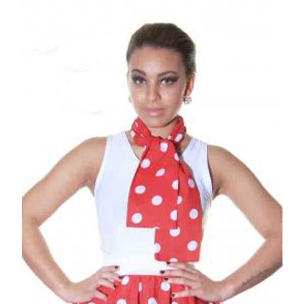 Ladies Crazy Chick Red White Polka Dot 111cm Scarf Fancy Dress Accessory