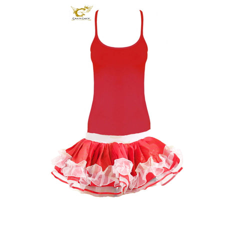 Christmas Ladies Red & White Satin Ruffle TUTU Skirt With Vest Top Fancy Dress
