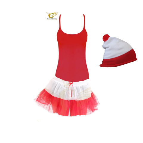 Christmas Ladies 2 Layers White Red TuTu Skirt With Vest Top And Hat Fancy Dress