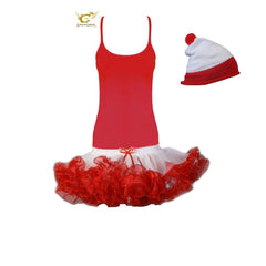 Christmas Ladies 2 Layers White Red Short Ruffle TuTu Skirt With Vest Top And Hat Fancy Dress