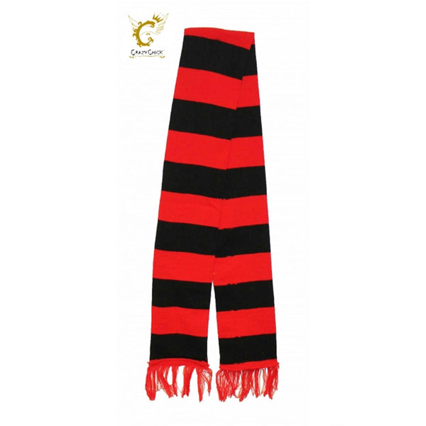 Adult Red & Black Striped Scarf Fancy Dress Men Women Accessory