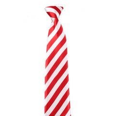 Adult Satin Red & White Striped Neck Tie