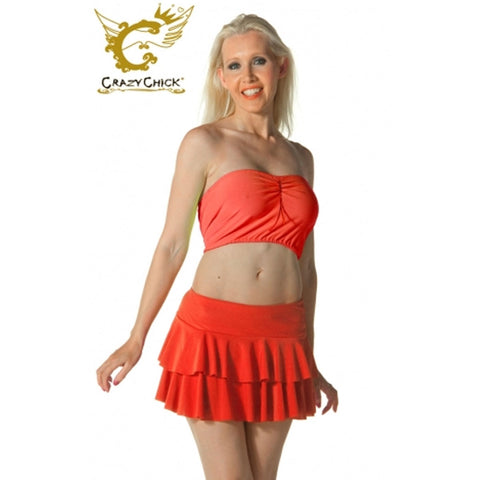 Ladies Women Red RARA Two Tier Frill Gym Dance Neon Mini Skirts Fancy Dress