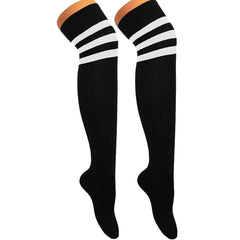 Referee Black and White Over The Knees Socks