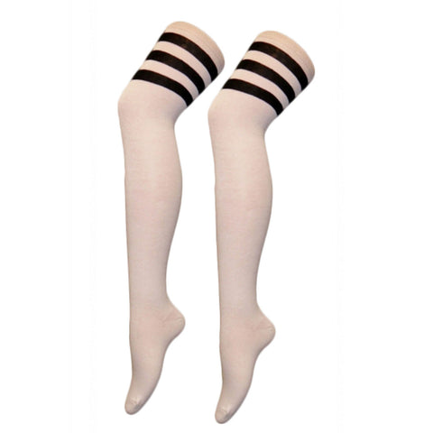 Women Referee White and Black Over The Knees Socks