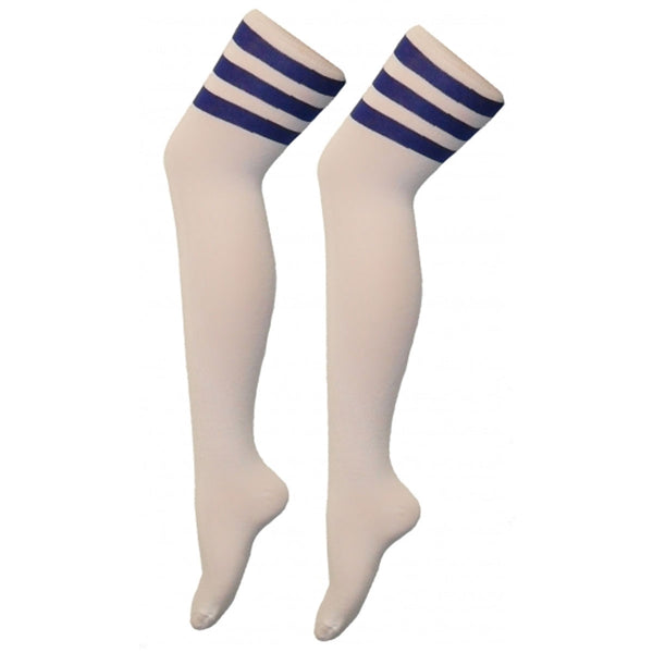 Women Referee White and Blue Over The Knees Socks