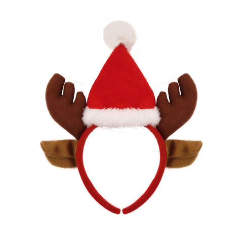 Christmas Reindeer Antlers With Ears Headband & Santa Hat