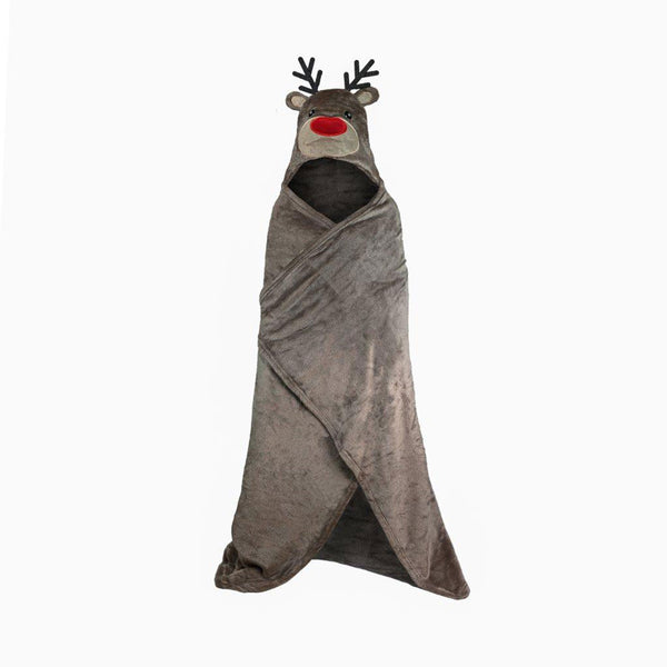 Kids Rudolph Hooded Throw Children Xmas Novelty Wearable Warm Soft Christmas Blanket