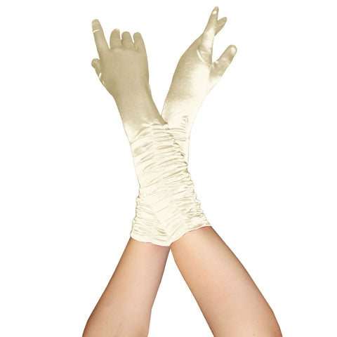 Ladies Ruched Top Long Ivory Satin Gloves Opera Evening Party Fancy Dress Prom