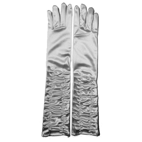 Ladies Ruched Top Long Silver Satin Gloves Opera Evening Party Fancy Dress Prom