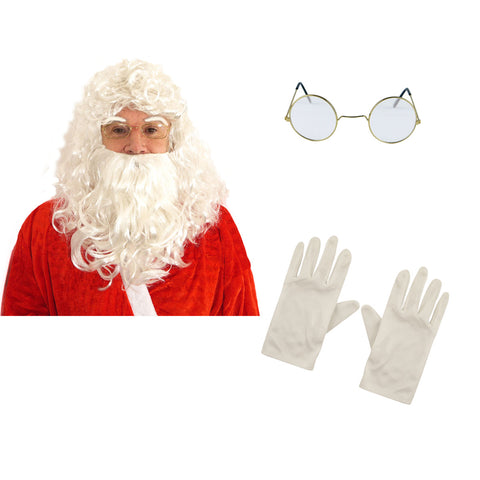 Xmas Santa 5 Pc Kit Wig Beard Gloves Glasses Eyebrows Christmas Fancy Dress Accessory