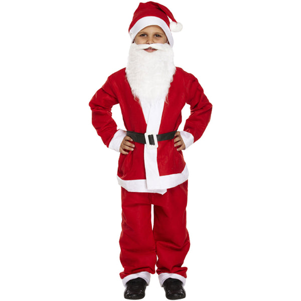 Children Santa Claus 5 Pcs Suit Father Costume Kids Xmas Party Novelty Fancy Dress
