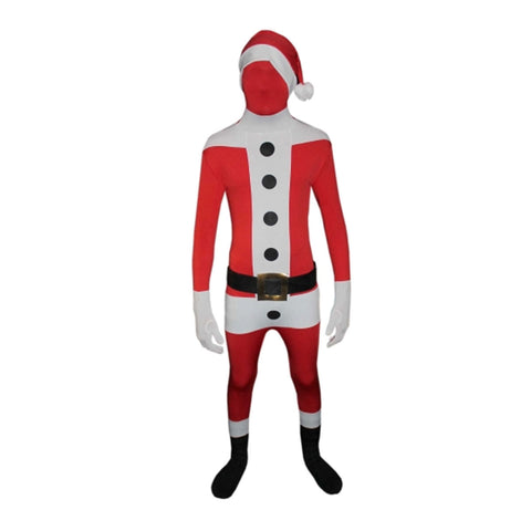 Adult Santa Claus 3 Pcs Stretchy Skin Suit Costume Unisex Xmas Party Novelty Fancy Dress