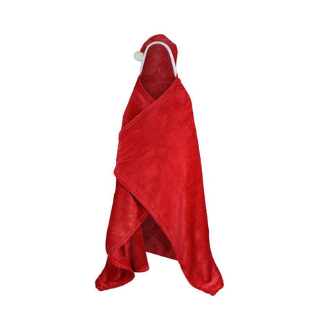 Kids Santa Hooded Throw Children Xmas Novelty Wearable Warm Soft Christmas Blanket