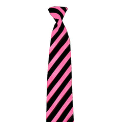 Adult Satin Pink Black Striped Neck Tie