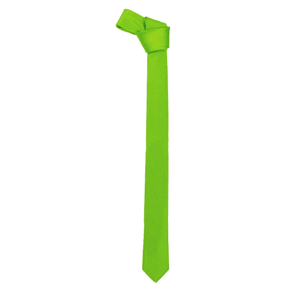 Adult Satin Plain Green Slim Neck Tie