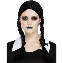 Scary Daughter Black Plaits Wig Halloween Fancy Dress Wednesday Adams Wigs UK