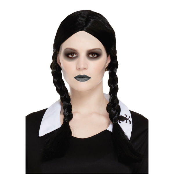 Halloween Adult Scary Daughter Wig Wednesday Adams Fancy Dress Accessory