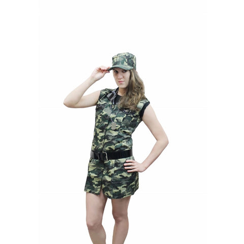 Girls Sexy Camouflage Costume Army Military Fancy Dress Outfit