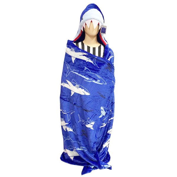 Kids Shark Hooded Throw Children Xmas Novelty Wearable Warm Soft Christmas Blanket