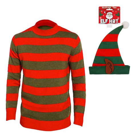 Christmas Children Red & Green Stripe Knitted Xmas Jumper With ELF Hat