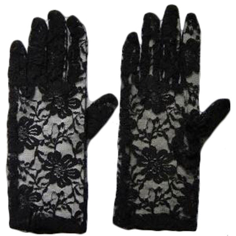 Women's Elegant Short Lace Floral Black Gloves Opera Evening Fancy Dress Wedding Party