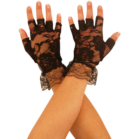 Adult Short Fingerless Lace Black Gloves 80s Fancy Dress Accessory