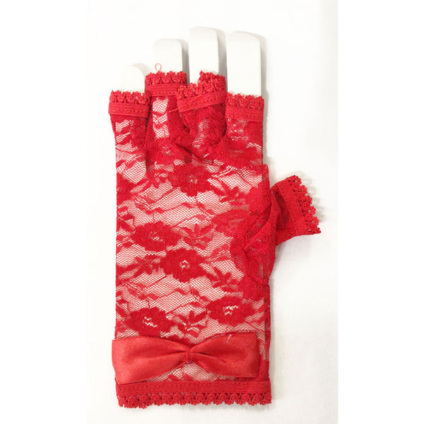 Adult Short Fingerless Lace Red Gloves 80s Fancy Dress Accessory