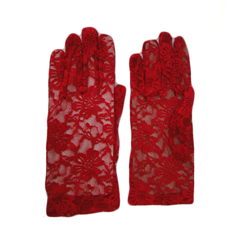 Women's Elegant Short Lace Floral Red Gloves Opera Evening Fancy Dress Wedding Party