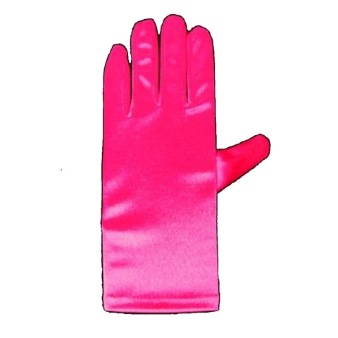 Ladies Short Fuchsia Opera Evening Satin Finger Gloves Party Fancy Dress Prom