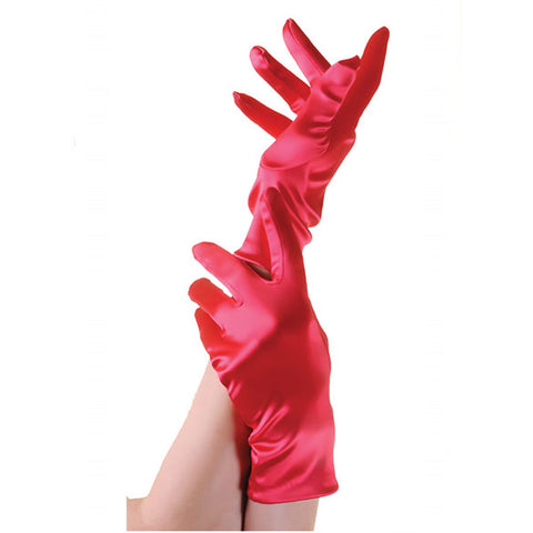 Ladies Short Red Opera Evening Satin Finger Gloves Party Fancy Dress Prom