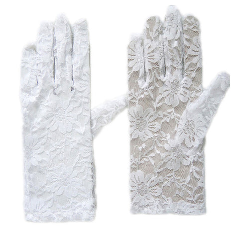 Women's Elegant Short Lace Floral White Gloves Opera Evening Fancy Dress Wedding Party