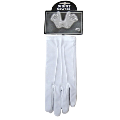Unisex Short Wrist White Plain Gloves Opera Evening Fancy Dress Wedding Party
