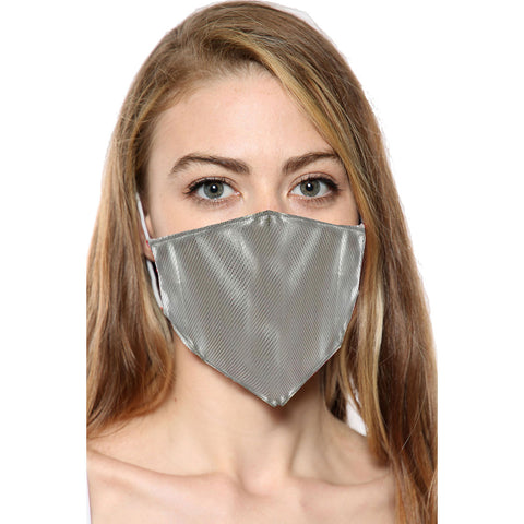Silver Rexene Print Face Mask With Filter Pocket