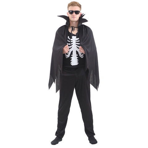 Adult Skeleton Cape Halloween Party Fancy Dress